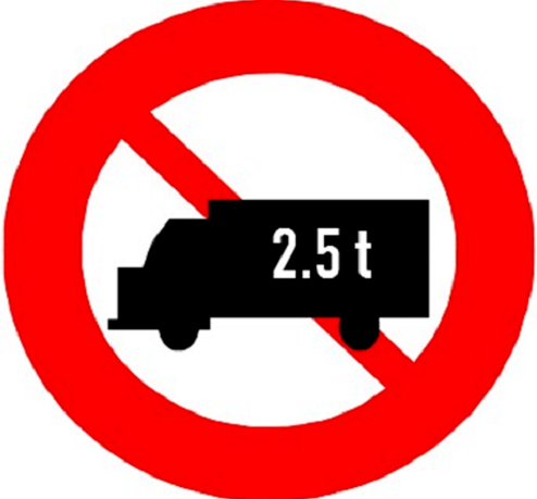 biển báo cấm xe tải 2.5 tấn